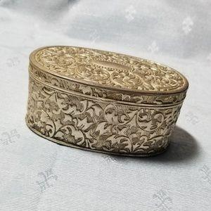 Vintage scrolled floral silver plate trinket box